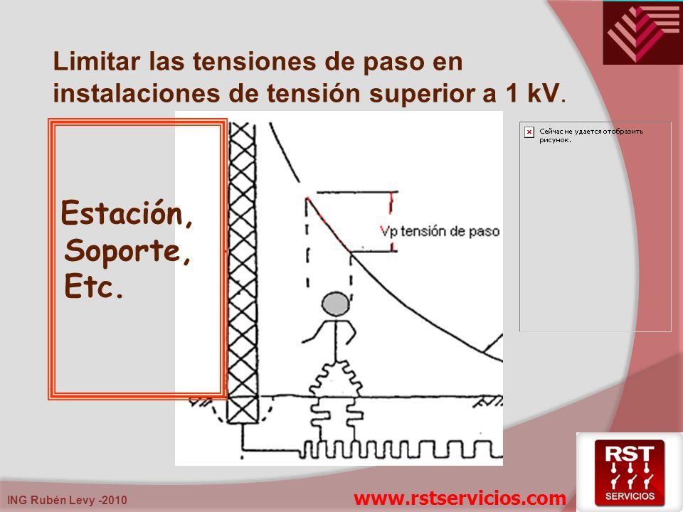 ING Rubén Levy -2010 Limitar las tensiones de paso en instalaciones de tensión superior a 1 kV. Estación, Soporte, Etc. www.rstservicios.com