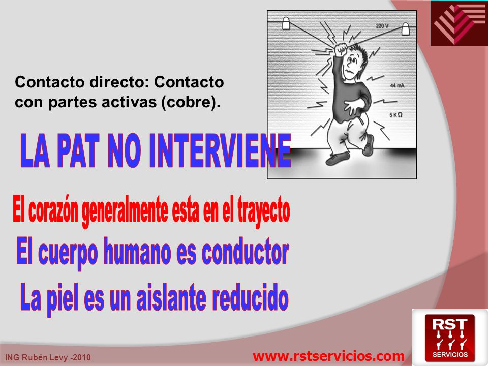 ING Rubén Levy -2010 Contacto indirecto: Contacto con masas eléctricas que se han puesto activas o bajo tensión a causa de una falla o defecto.