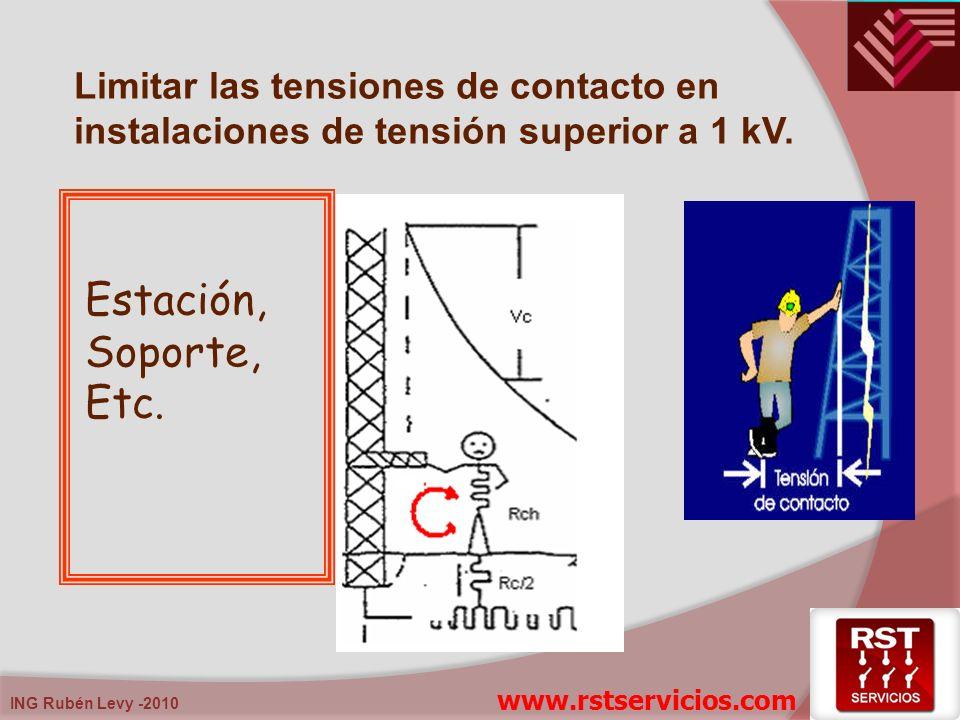 ING Rubén Levy -2010 Limitar las tensiones de contacto en instalaciones de tensión superior a 1 kV. Estación, Soporte, Etc. www.rstservicios.com