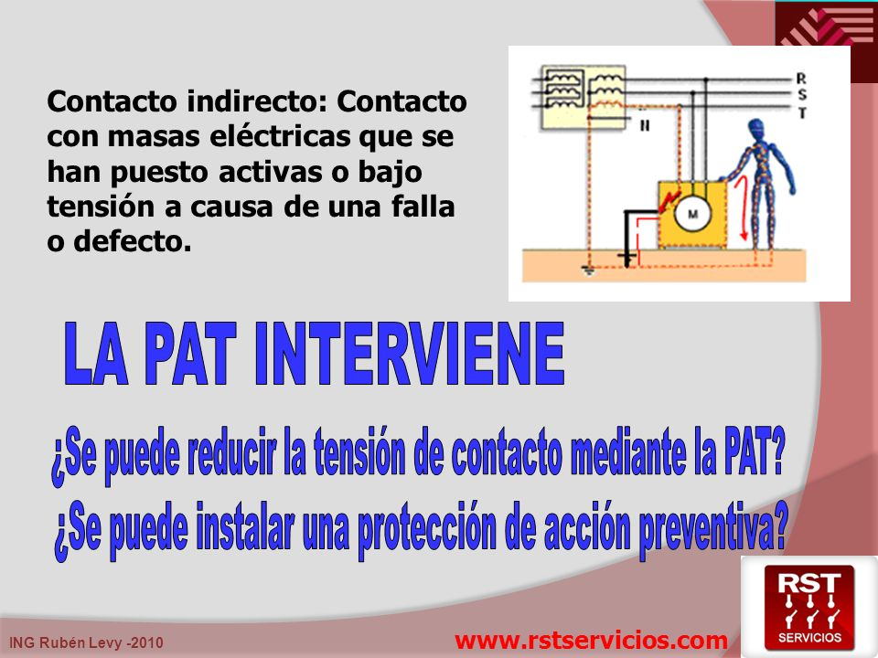 ING Rubén Levy -2010 Contacto indirecto: Contacto con masas eléctricas que se han puesto activas o bajo tensión a causa de una falla o defecto. www.rs