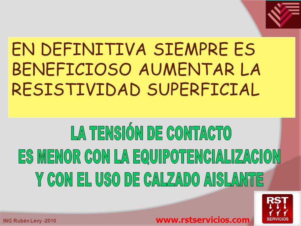 ING Rubén Levy -2010 EN DEFINITIVA SIEMPRE ES BENEFICIOSO AUMENTAR LA RESISTIVIDAD SUPERFICIAL www.rstservicios.com