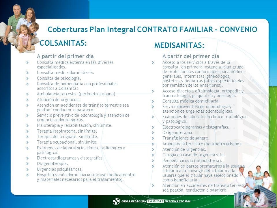 Coberturas Plan Integral CONTRATO FAMILIAR - CONVENIO A partir del primer día Acceso a los servicios a través de la consulta, en primera instancia, a
