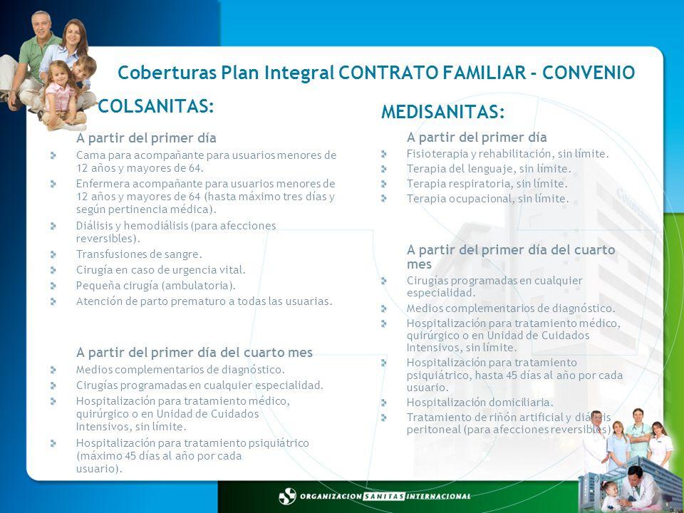 Coberturas Plan Integral CONTRATO FAMILIAR - CONVENIO A partir del primer día Fisioterapia y rehabilitación, sin límite. Terapia del lenguaje, sin lím