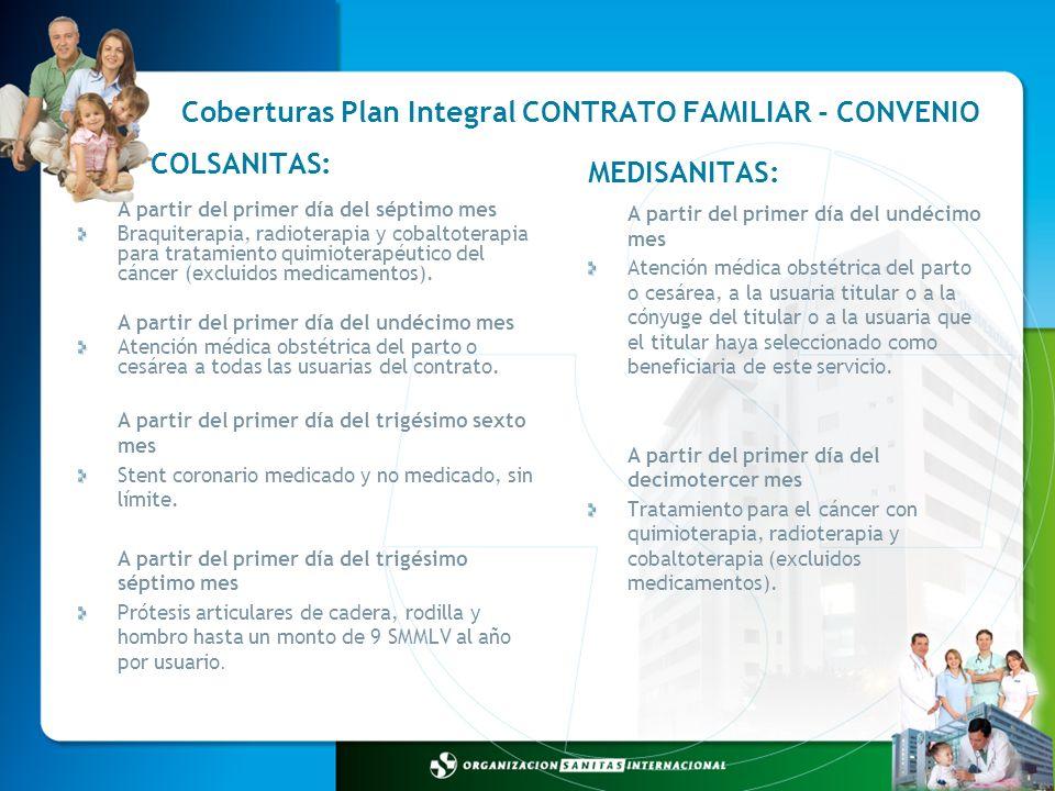 Coberturas Plan Integral CONTRATO FAMILIAR - CONVENIO A partir del primer día del undécimo mes Atención médica obstétrica del parto o cesárea, a la us