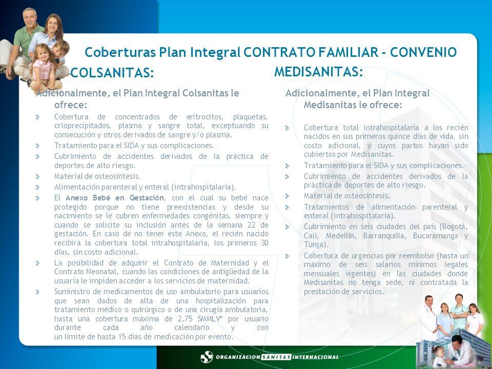 Coberturas Plan Integral CONTRATO FAMILIAR - CONVENIO Adicionalmente, el Plan Integral Medisanitas le ofrece: Cobertura total intrahospitalaria a los