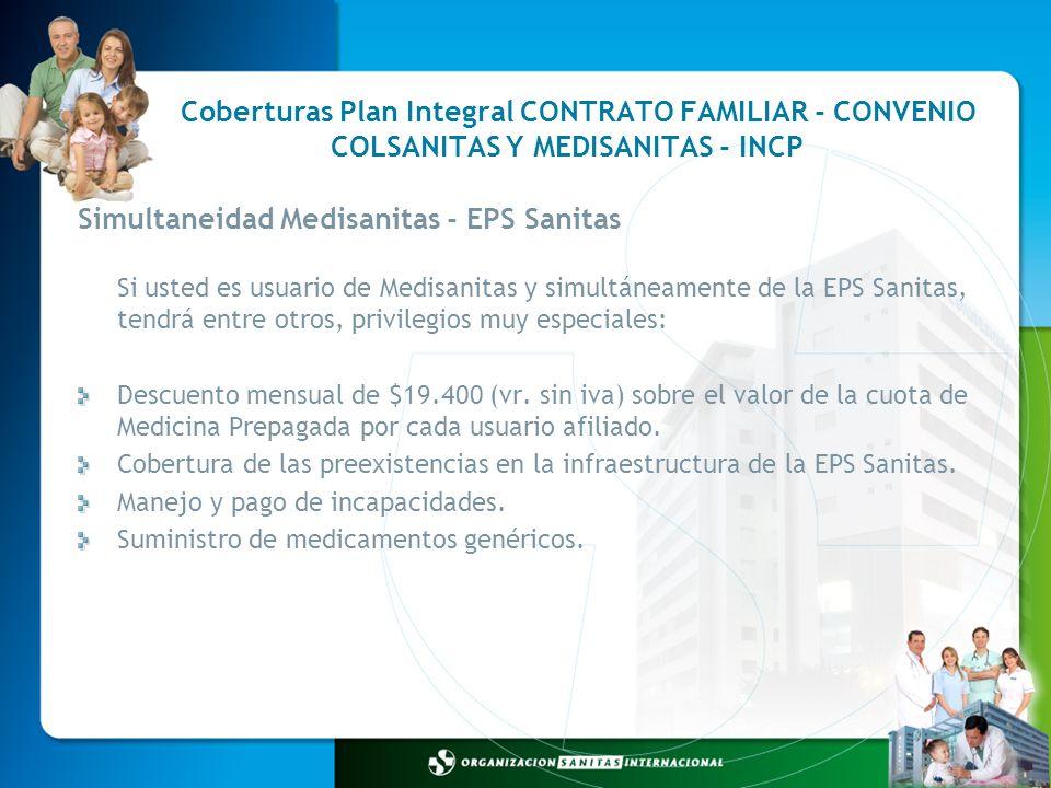 Coberturas Plan Integral CONTRATO FAMILIAR - CONVENIO Simultaneidad Medisanitas - EPS Sanitas Si usted es usuario de Medisanitas y simultáneamente de