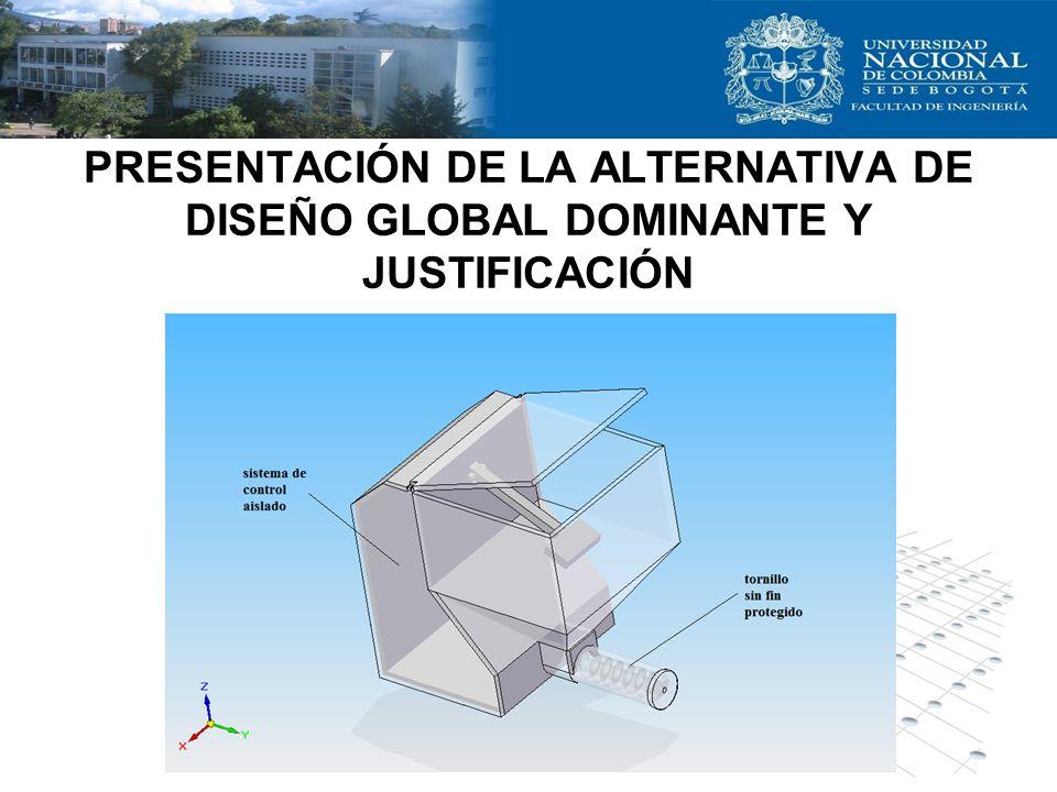 PRESENTACIÓN DE LA ALTERNATIVA DE DISEÑO GLOBAL DOMINANTE Y JUSTIFICACIÓN