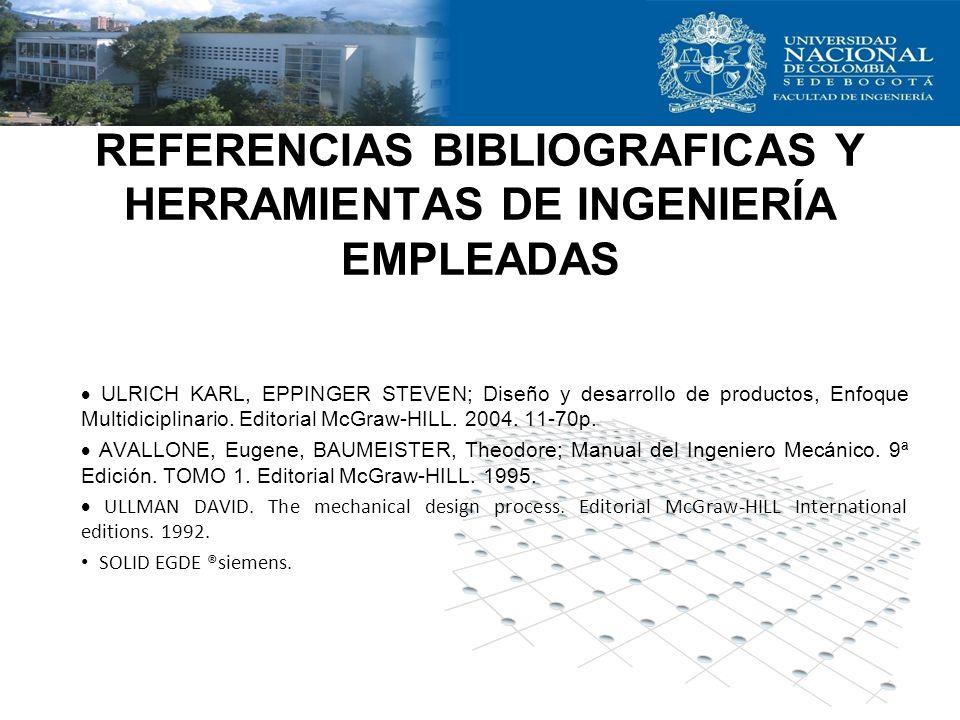 REFERENCIAS BIBLIOGRAFICAS Y HERRAMIENTAS DE INGENIERÍA EMPLEADAS ULRICH KARL, EPPINGER STEVEN; Diseño y desarrollo de productos, Enfoque Multidiciplinario.