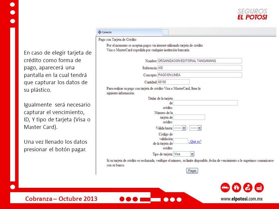 En caso de elegir tarjeta de crédito como forma de pago, aparecerá una pantalla en la cual tendrá que capturar los datos de su plástico. Igualmente se