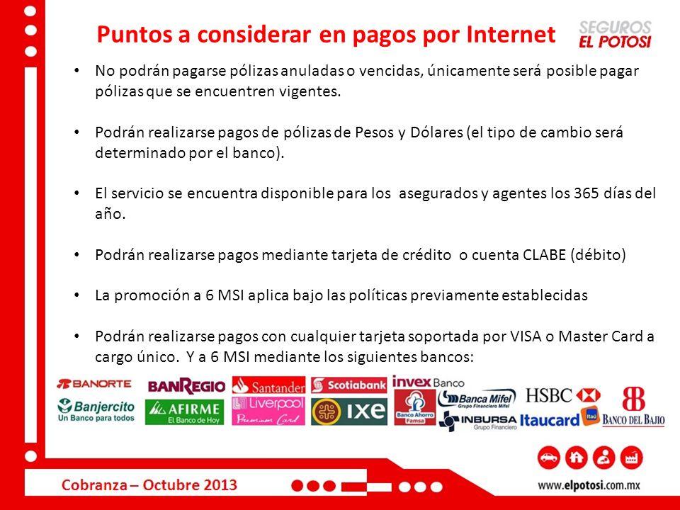 Puntos a considerar en pagos por Internet No podrán pagarse pólizas anuladas o vencidas, únicamente será posible pagar pólizas que se encuentren vigen