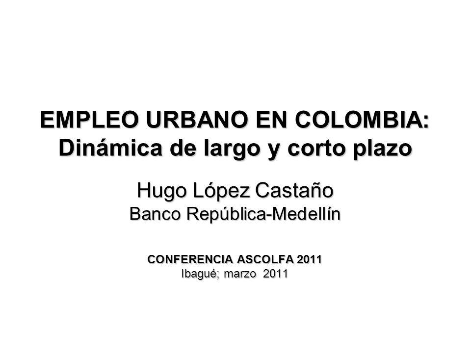 EMPLEO URBANO EN COLOMBIA: Dinámica de largo y corto plazo Hugo López Castaño Banco República-Medellín CONFERENCIA ASCOLFA 2011 Ibagué; marzo 2011
