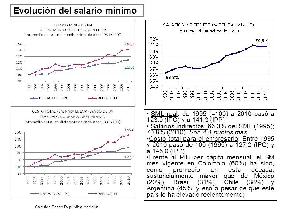 Evolución del salario mínimo SML real: de 1995 (=100) a 2010 pasó a 123.9 (IPC) y a 141.3 (IPP) Salarios indirectos: 66.3% del SML (1995); 70.8% (2010