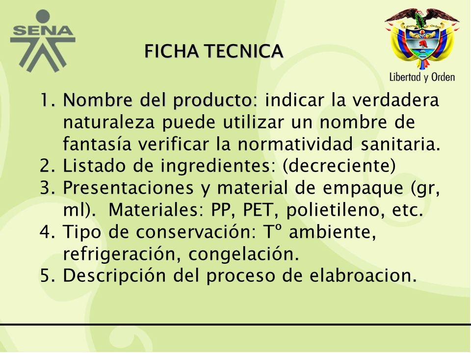FICHA TECNICA 1.Nombre del producto: 1.Nombre del producto: indicar la verdadera naturaleza puede utilizar un nombre de fantasía verificar la normatividad sanitaria.