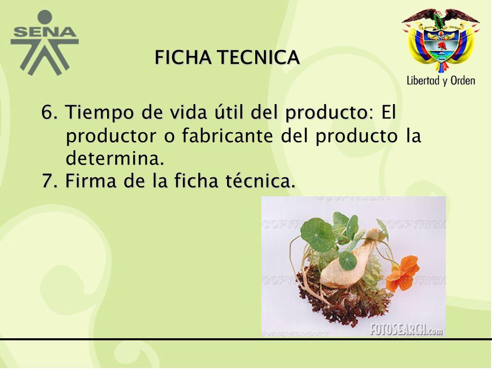 FICHA TECNICA 6.Tiempo de vida útil del producto: 6.