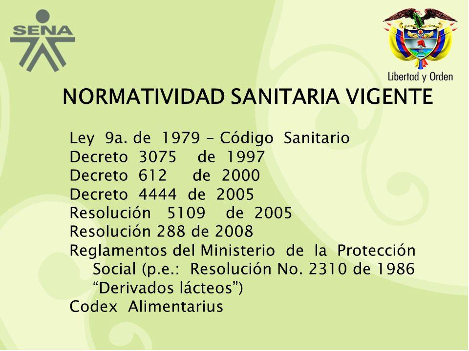 NORMATIVIDAD SANITARIA VIGENTE Ley 9a.