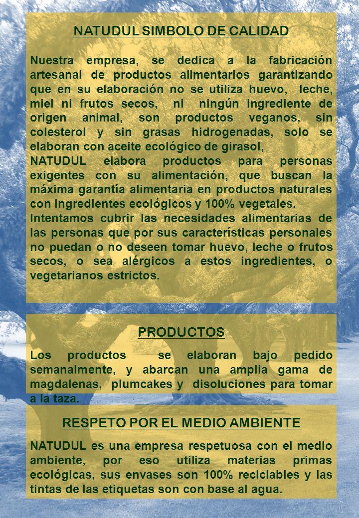 NATUDUL SIMBOLO DE CALIDAD Nuestra empresa, se dedica a la fabricación artesanal de productos alimentarios garantizando que en su elaboración no se utiliza huevo, leche, miel ni frutos secos, ni ningún ingrediente de origen animal, son productos veganos, sin colesterol y sin grasas hidrogenadas, solo se elaboran con aceite ecológico de girasol, NATUDUL elabora productos para personas exigentes con su alimentación, que buscan la máxima garantía alimentaria en productos naturales con ingredientes ecológicos y 100% vegetales.