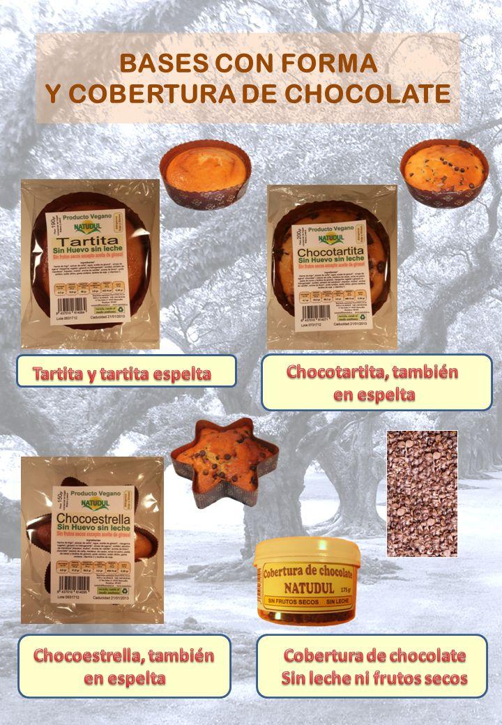 BASES CON FORMA Y COBERTURA DE CHOCOLATE