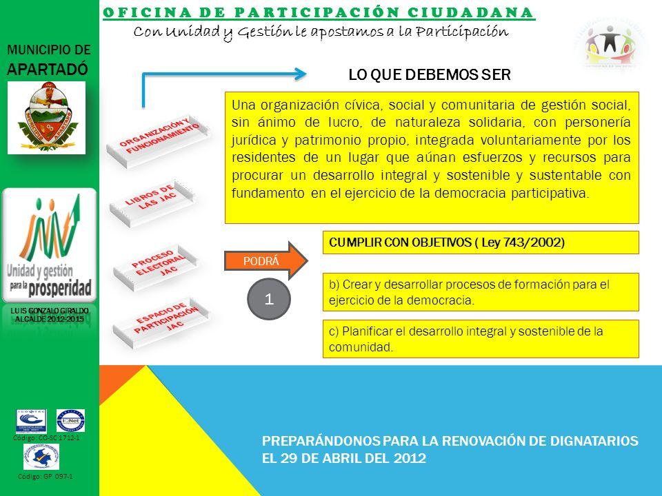 OFICINA DE PARTICIPACIÓN CIUDADANA Con Unidad y Gestión le apostamos a la Participación MUNICIPIO DE APARTADÓ Código: CO-SC 1712-1 Código: GP 097-1 PREPARÁNDONOS PARA LA RENOVACIÓN DE DIGNATARIOS EL 29 DE ABRIL DEL 2012 LO QUE DEBEMOS SER LUIS GONZALO GIRALDO ALCALDE 2012-2015 b) Crear y desarrollar procesos de formación para el ejercicio de la democracia.