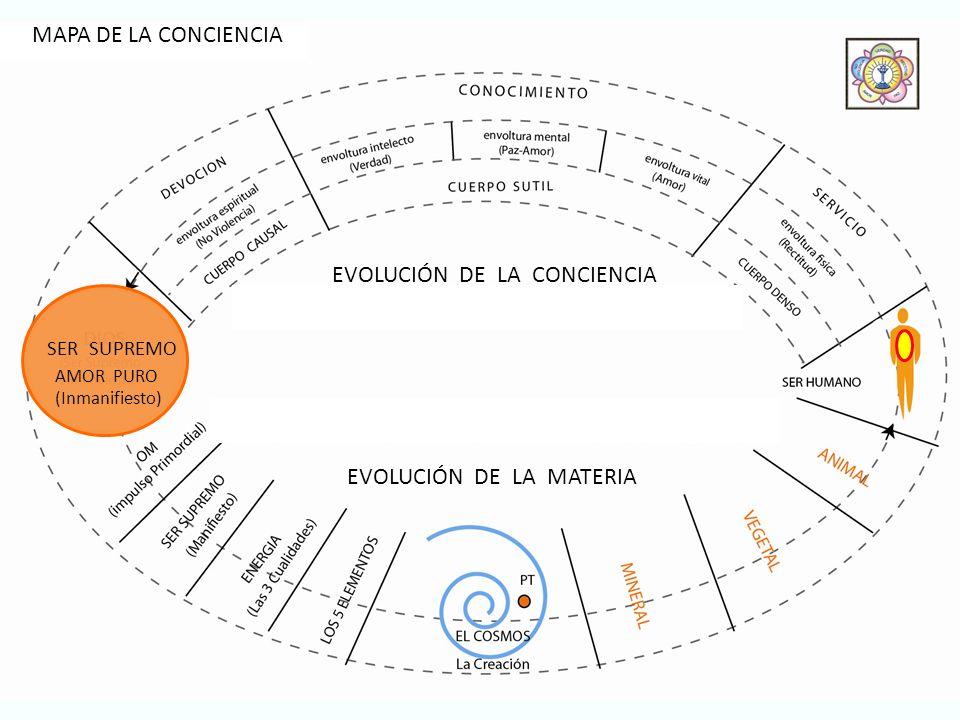 AMOR PURO SER SUPREMO EVOLUCIÓN DE LA MATERIA EVOLUCIÓN DE LA CONCIENCIA (Inmanifiesto) MAPA DE LA CONCIENCIA