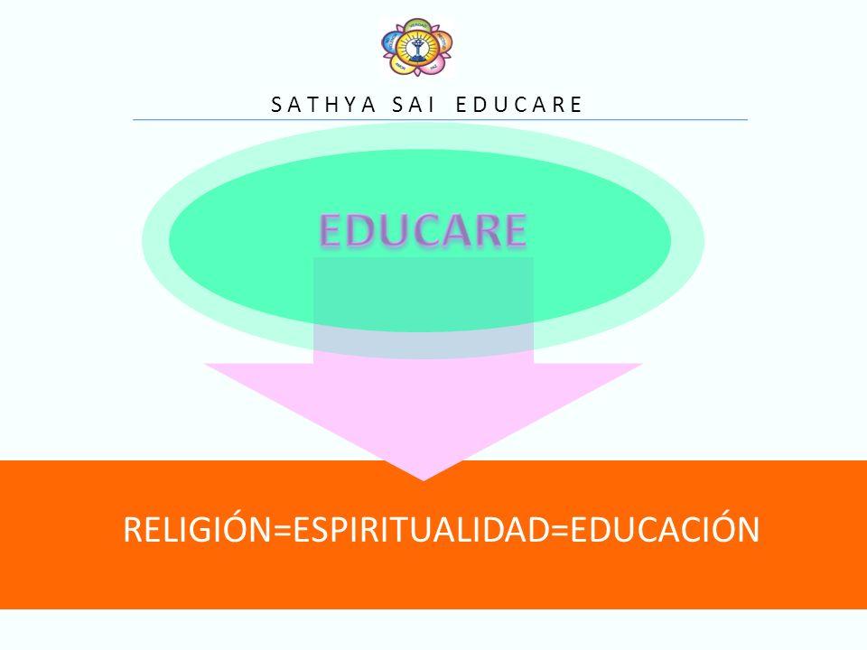S A T H Y A S A I E D U C A R E RELIGIÓN=ESPIRITUALIDAD=EDUCACIÓN