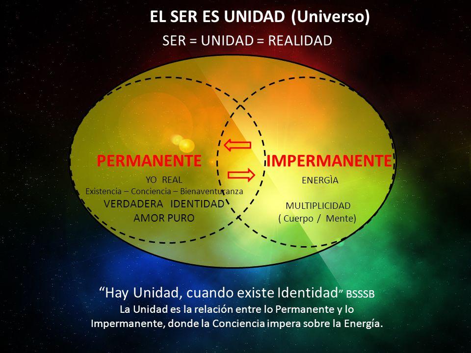 EL SER ES UNIDAD (Universo) PERMANENTE YO REAL Existencia – Conciencia – Bienaventuranza VERDADERA IDENTIDAD AMOR PURO IMPERMANENTE ENERGÌA MULTIPLICIDAD ( Cuerpo / Mente) Hay Unidad, cuando existe Identidad BSSSB La Unidad es la relación entre lo Permanente y lo Impermanente, donde la Conciencia impera sobre la Energía.