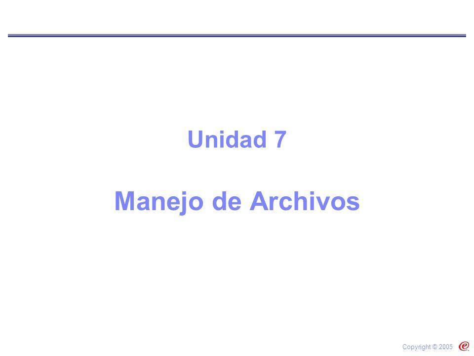 Manejo de Archivos Copyright © 2005 Unidad 7