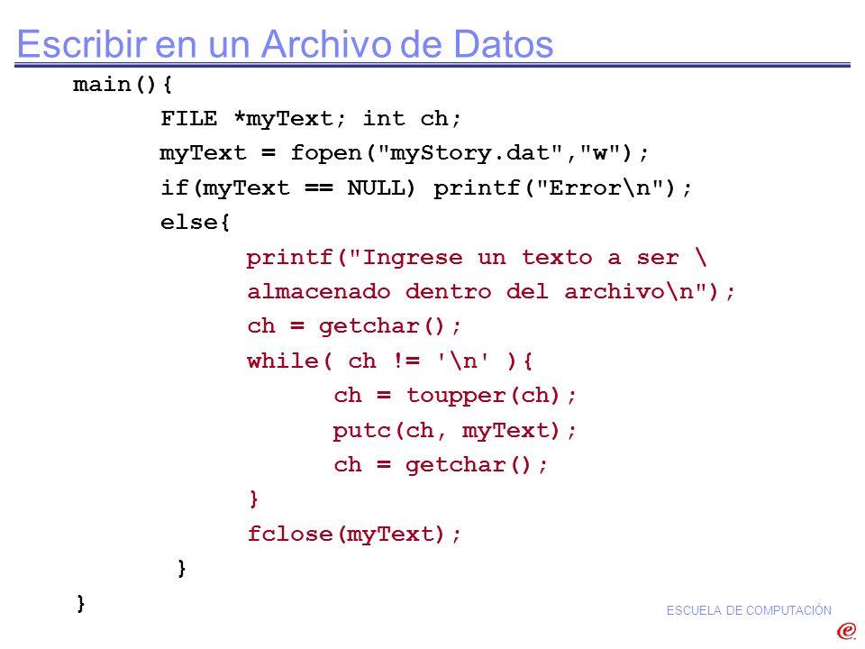 ESCUELA DE COMPUTACIÓN Escribir en un Archivo de Datos main(){ FILE *myText; int ch; myText = fopen(