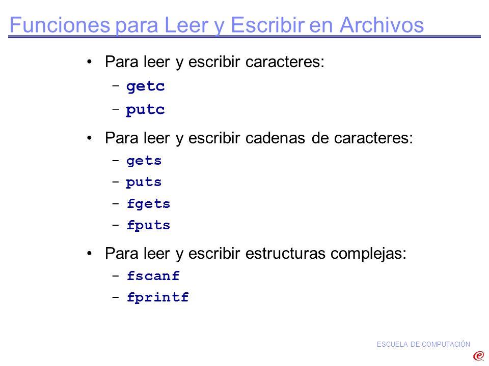 ESCUELA DE COMPUTACIÓN Funciones para Leer y Escribir en Archivos Para leer y escribir caracteres: -getc -putc Para leer y escribir cadenas de caracte