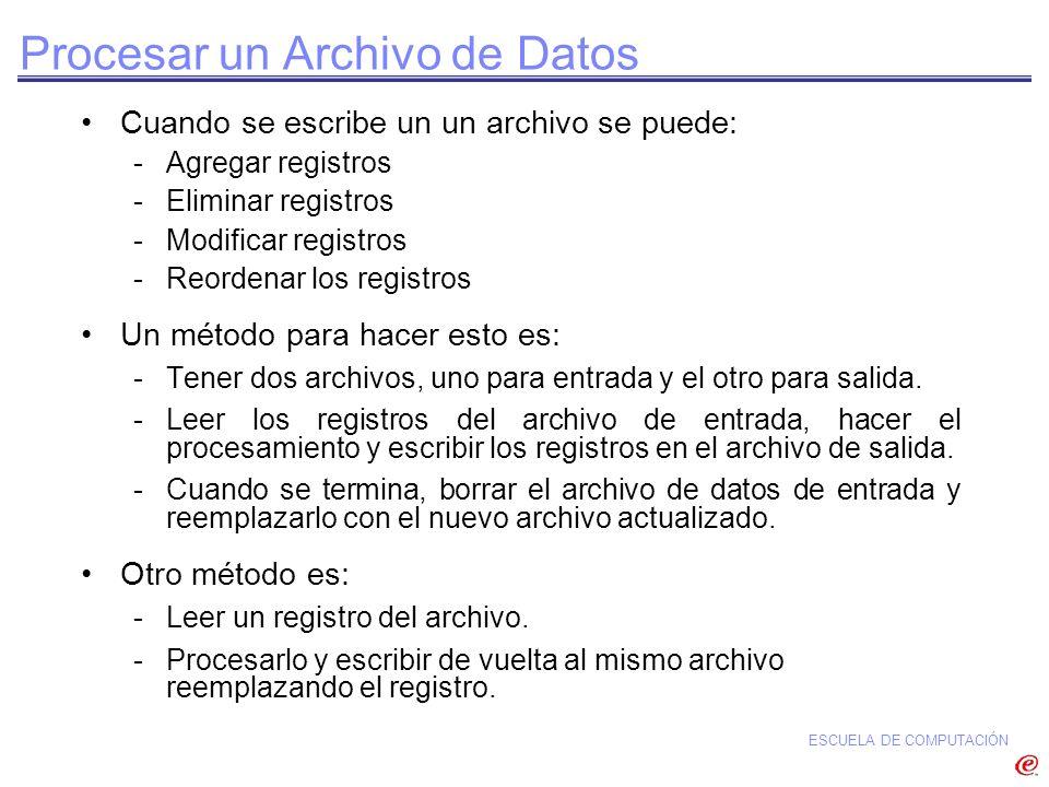 ESCUELA DE COMPUTACIÓN Cuando se escribe un un archivo se puede: -Agregar registros -Eliminar registros -Modificar registros -Reordenar los registros