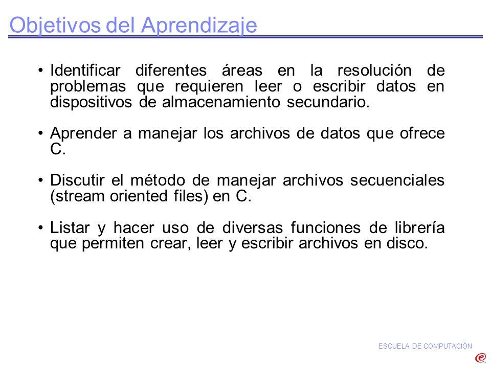 ESCUELA DE COMPUTACIÓN #include #define NULL 0 main(){ FILE *buff_ptr; buff_ptr = fopen(misDatos.dat,r+); if(buff_ptr == NULL) printf(Error al abrir archivo\n); else{ … fclose(buff_ptr); } Chequeo por Condición de fopen() no Exitoso