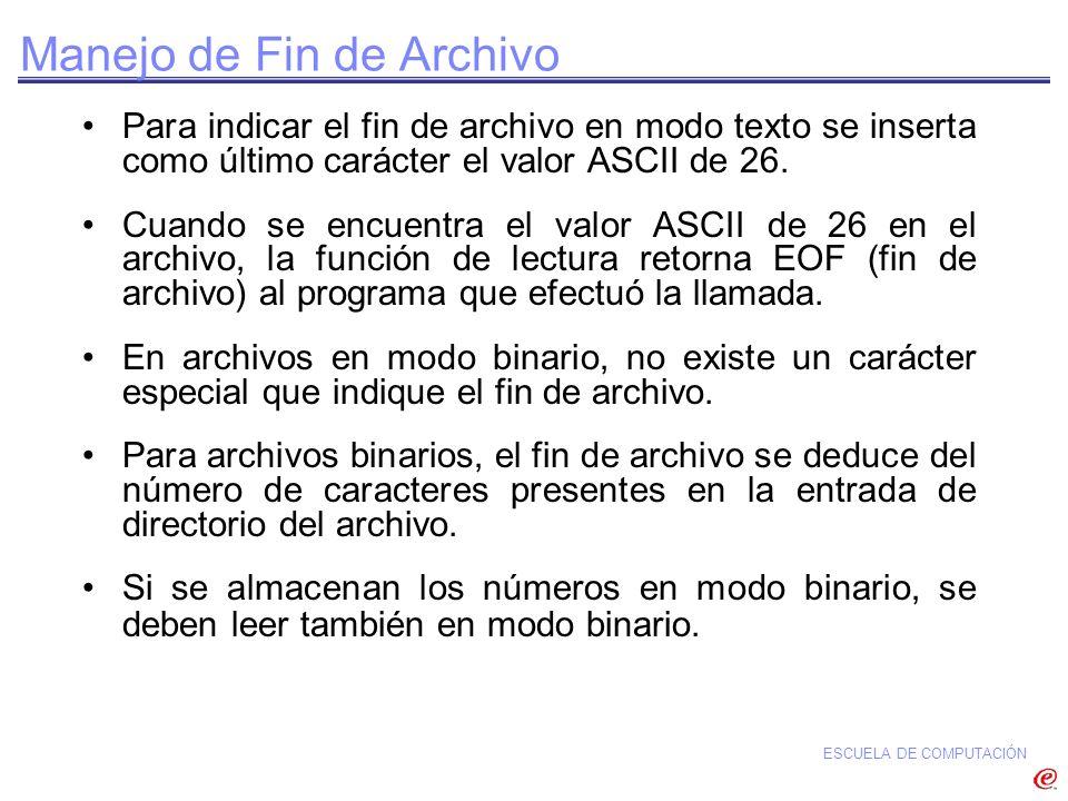 ESCUELA DE COMPUTACIÓN Manejo de Fin de Archivo Para indicar el fin de archivo en modo texto se inserta como último carácter el valor ASCII de 26. Cua
