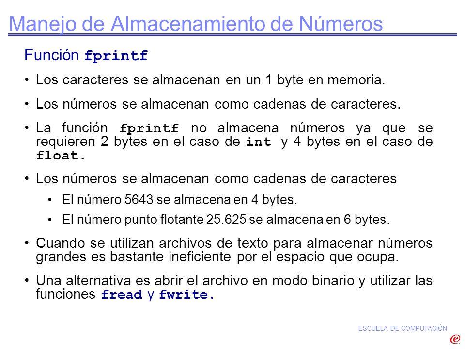 ESCUELA DE COMPUTACIÓN Manejo de Almacenamiento de Números Función fprintf Los caracteres se almacenan en un 1 byte en memoria. Los números se almacen