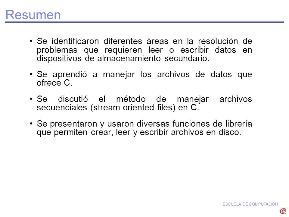 ESCUELA DE COMPUTACIÓN Resumen Se identificaron diferentes áreas en la resolución de problemas que requieren leer o escribir datos en dispositivos de