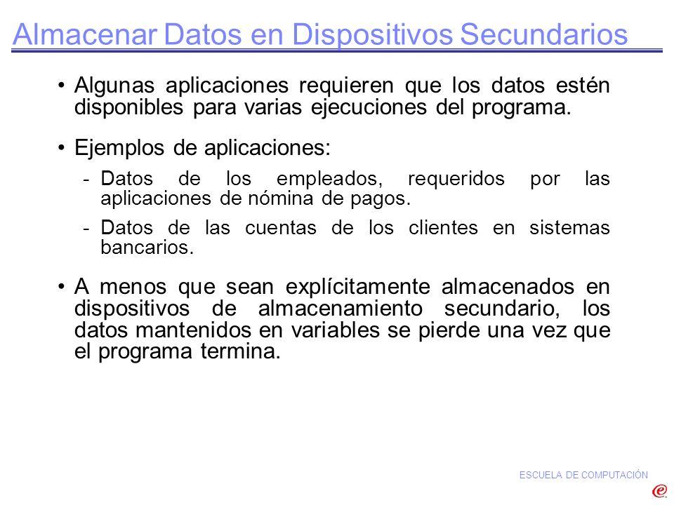 ESCUELA DE COMPUTACIÓN Almacenar Datos en Dispositivos Secundarios Algunas aplicaciones requieren que los datos estén disponibles para varias ejecucio