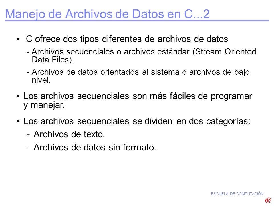 ESCUELA DE COMPUTACIÓN Uso de Archivos sin Formato...Ejemplo 1 1 #include 2 #define SIZE 2 3 /* Estructura */ 4 typedef struct{ 5 char idno[9]; 6 char nombre[45]; 7 /* Notas de los 6 cursos */ 8 float notas[6]; 9 }LISTA_NOTAS; 10 /* Función para obtener datos del usuario y almacenarlo en un archivo */ 11 void almacenarDatos(){ 12 FILE *in_mark_ptr; 13 LISTA_NOTAS in_stud[SIZE]; 14 int j,k; 15 /* Abrir archivo modo escritura */ 16 in_mark_ptr = fopen( history.dat , wb ); 17 k = 0;