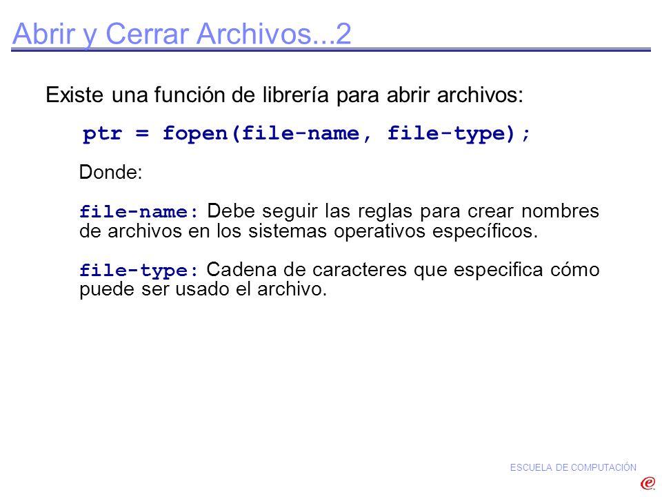 ESCUELA DE COMPUTACIÓN Existe una función de librería para abrir archivos: ptr = fopen(file-name, file-type); Donde: file-name: Debe seguir las reglas