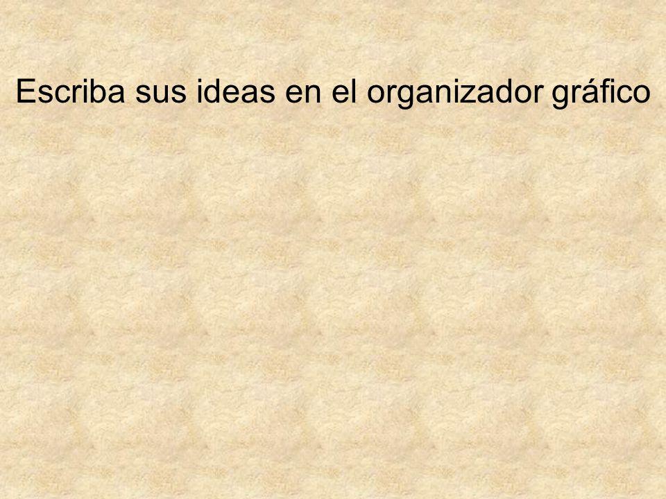 Escriba sus ideas en el organizador gráfico