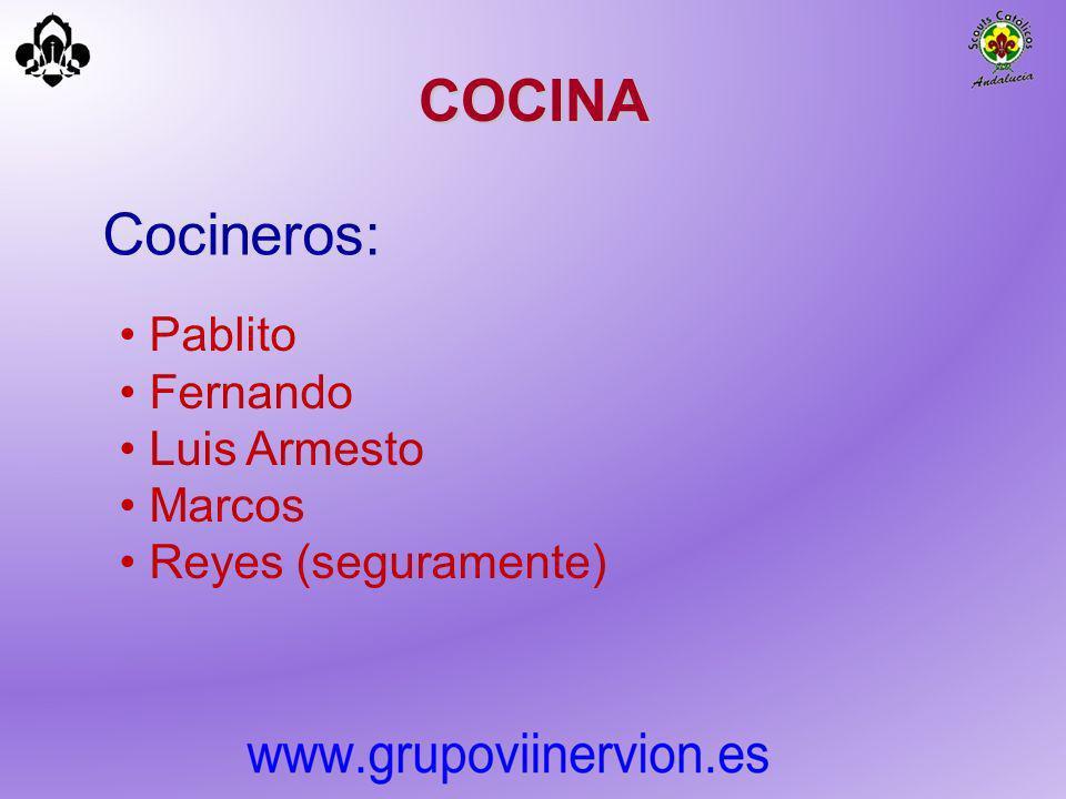 COCINA Cocineros: Pablito Fernando Luis Armesto Marcos Reyes (seguramente)
