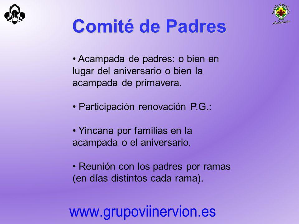 Comité de Padres Acampada de padres: o bien en lugar del aniversario o bien la acampada de primavera. Participación renovación P.G.: Yincana por famil
