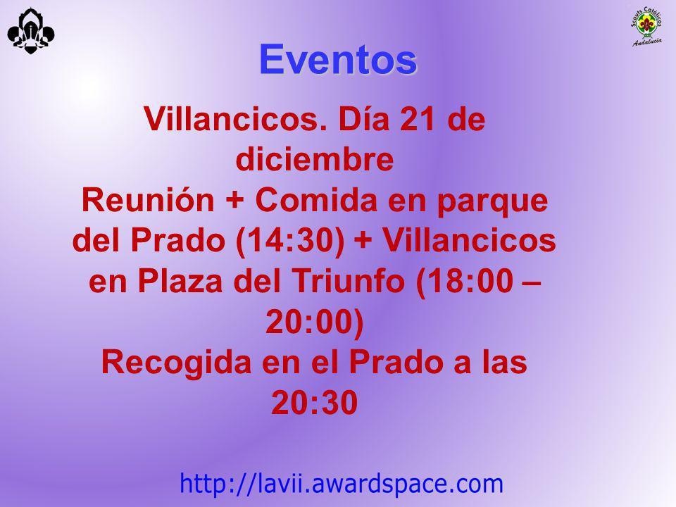 Villancicos. Día 21 de diciembre Reunión + Comida en parque del Prado (14:30) + Villancicos en Plaza del Triunfo (18:00 – 20:00) Recogida en el Prado