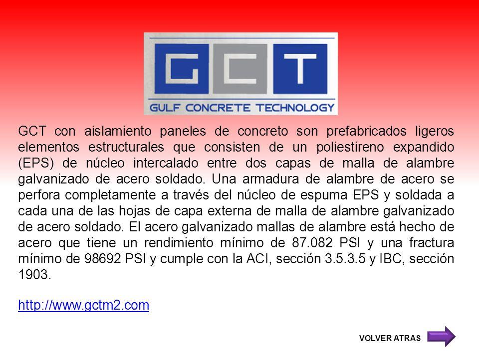 GCT con aislamiento paneles de concreto son prefabricados ligeros elementos estructurales que consisten de un poliestireno expandido (EPS) de núcleo i