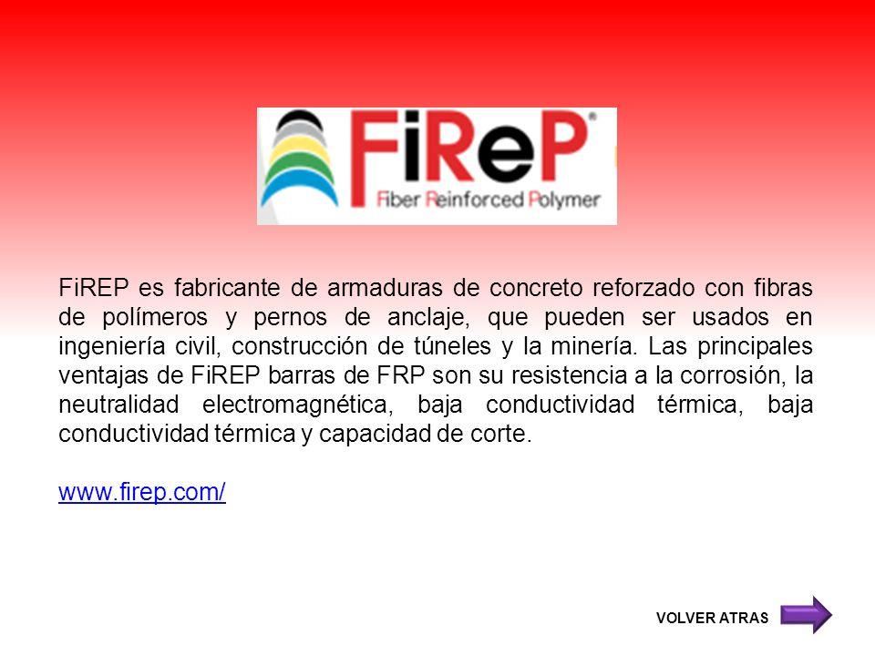 FiREP es fabricante de armaduras de concreto reforzado con fibras de polímeros y pernos de anclaje, que pueden ser usados en ingeniería civil, constru