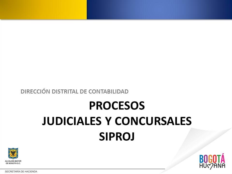 PROCESOS JUDICIALES Y CONCURSALES SIPROJ DIRECCIÓN DISTRITAL DE CONTABILIDAD
