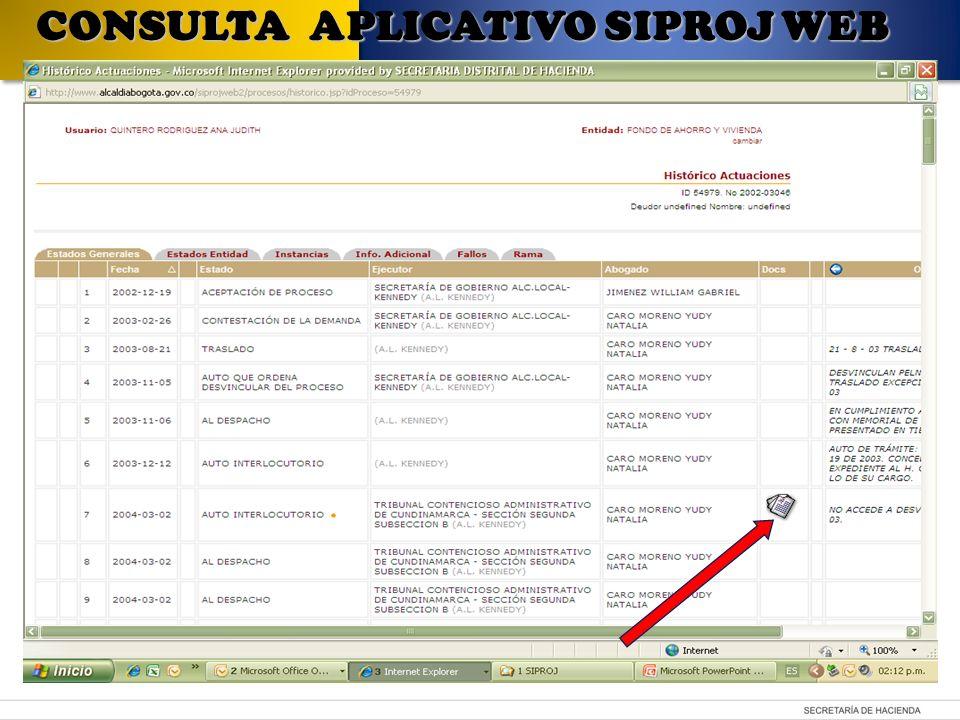 Determinar criterios para generar el informe CONSULTA APLICATIVO SIPROJ WEB