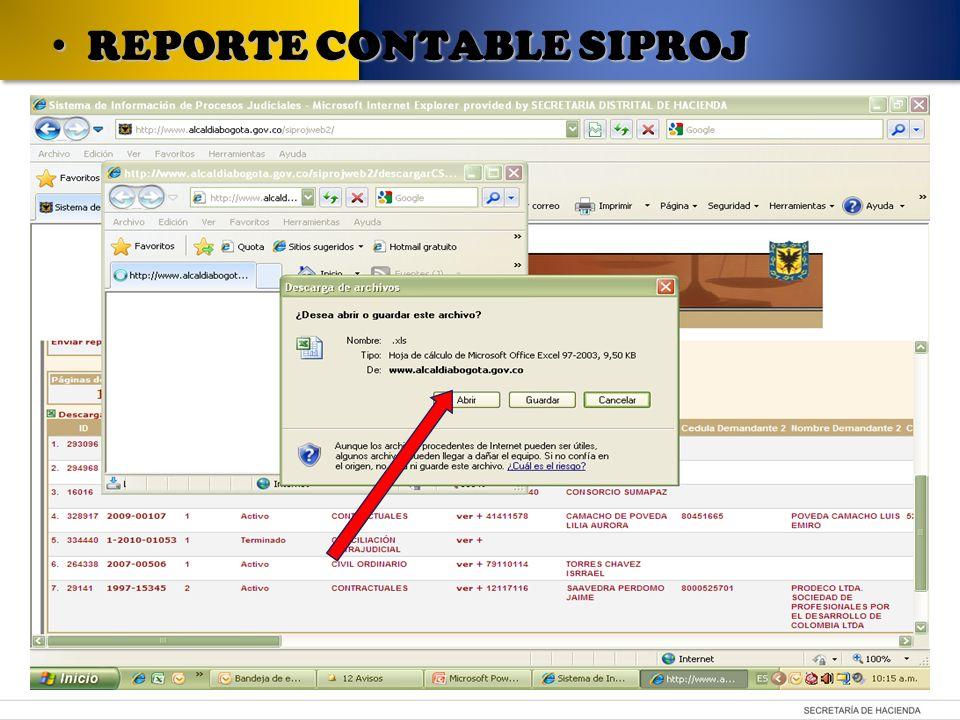 REPORTE CONTABLE SIPROJ REPORTE CONTABLE SIPROJ