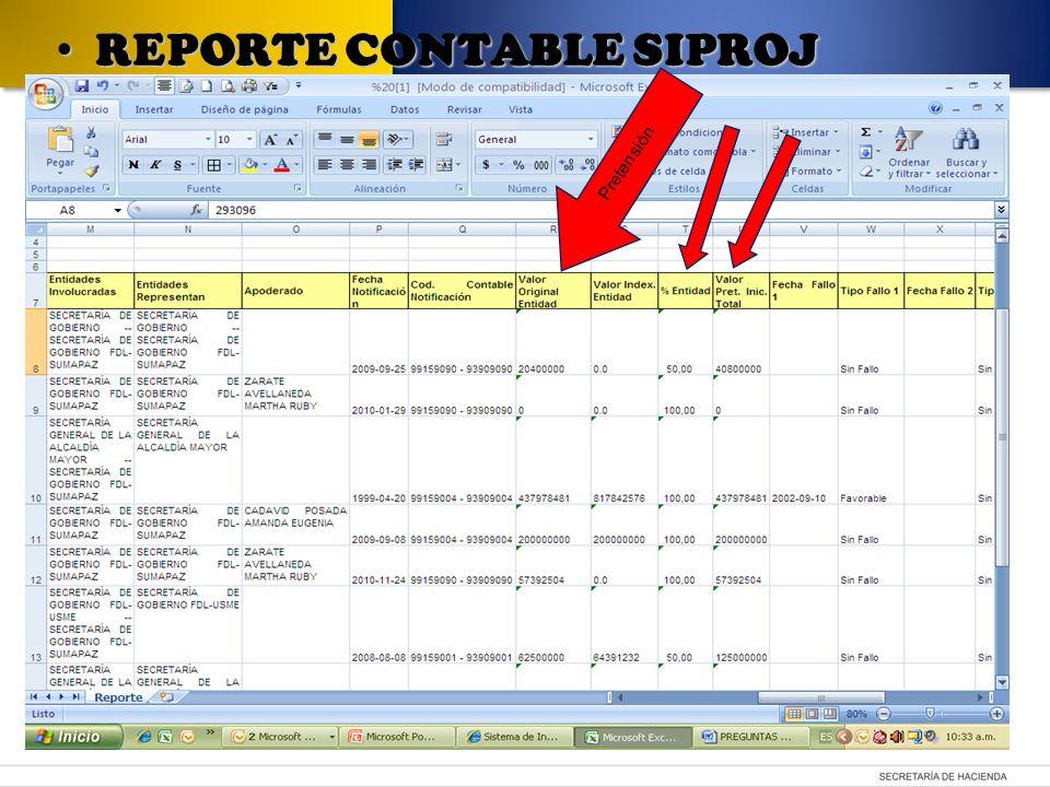 Pretensión REPORTE CONTABLE SIPROJ REPORTE CONTABLE SIPROJ