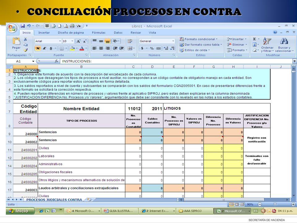 CONCILIACIÓN PROCESOS EN CONTRA CONCILIACIÓN PROCESOS EN CONTRA