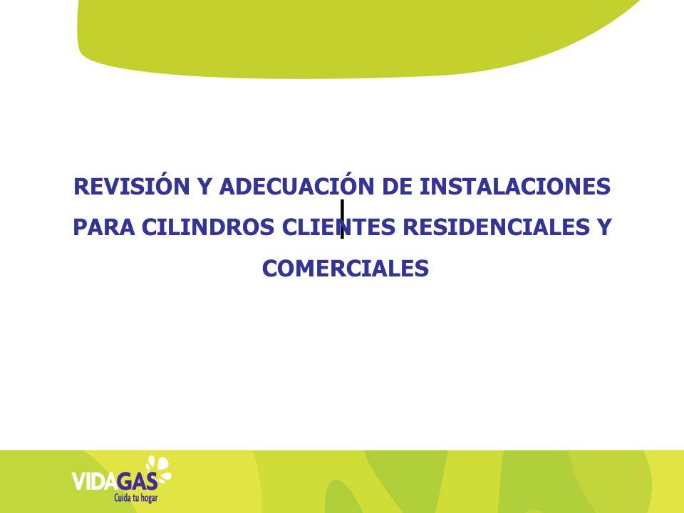 | REVISIÓN Y ADECUACIÓN DE INSTALACIONES PARA CILINDROS CLIENTES RESIDENCIALES Y COMERCIALES