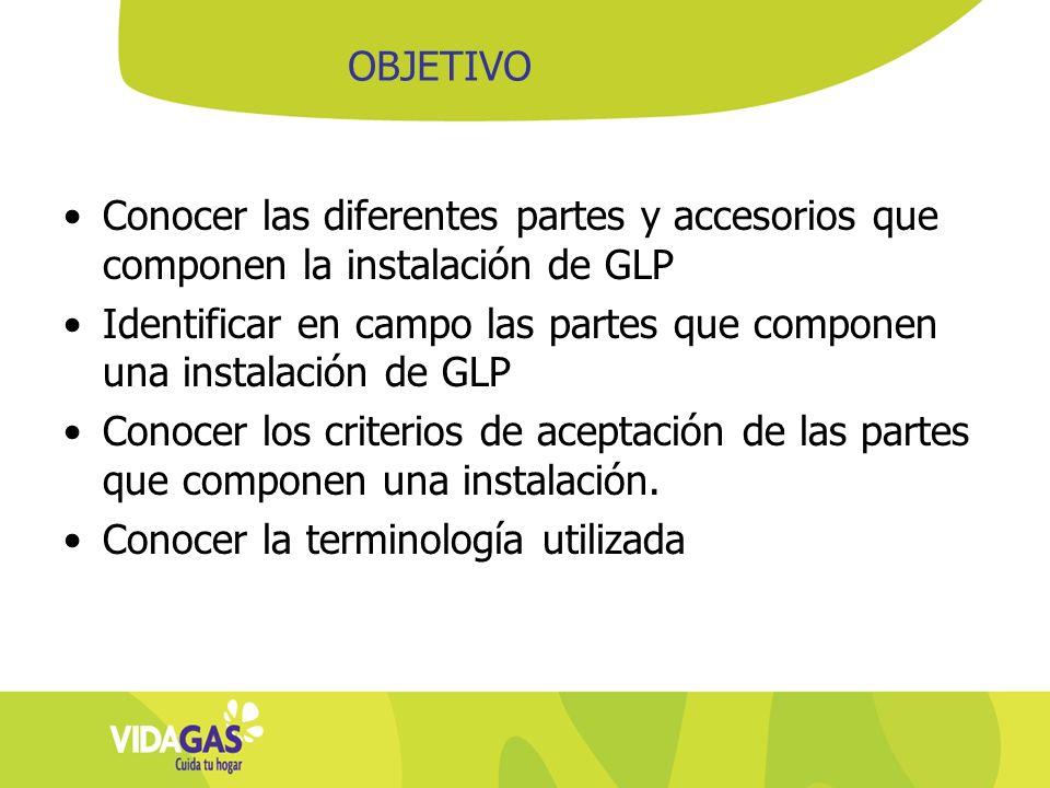 Conocer las diferentes partes y accesorios que componen la instalación de GLP Identificar en campo las partes que componen una instalación de GLP Cono