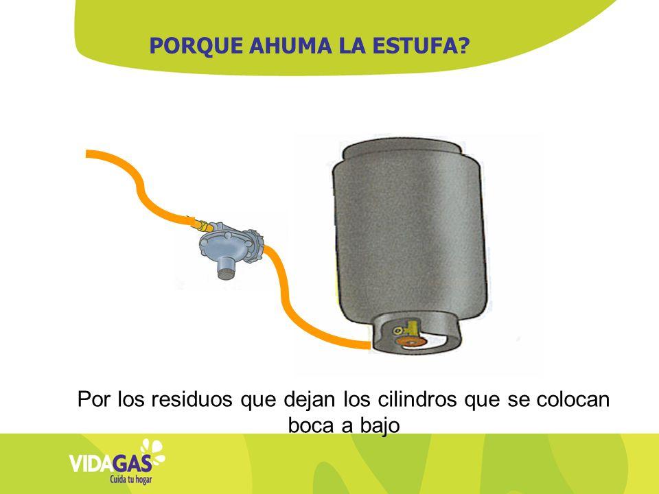 Por los residuos que dejan los cilindros que se colocan boca a bajo PORQUE AHUMA LA ESTUFA?